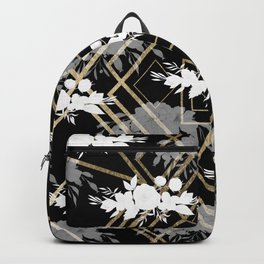 Geometrical faux gold black white floral pattern Backpack