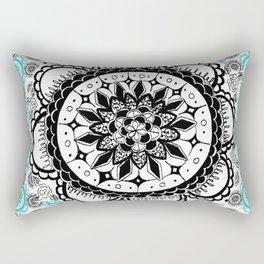 Teal and Black Mandala Pattern Rectangular Pillow