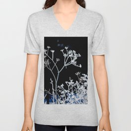 Frosted plant at cold winter day on black background Unisex V-Neck
