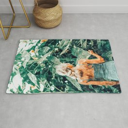 Nature Reflects in You, Woman Jungle Sunflower Forest Painting, Traditional Vintage Bohemian Fashion Rug
