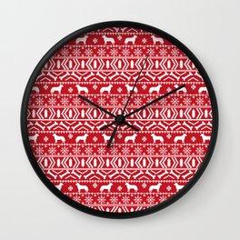 Australian Cattle Dog christmas fair isle pattern pet portrait holiday designs for dog lover Wall Clock