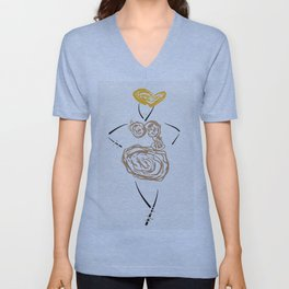 The bronze-white roses dress Unisex V-Neck