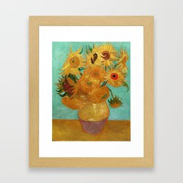 Vincent Van Gogh Twelve Sunflowers In A Vase Framed Art Print