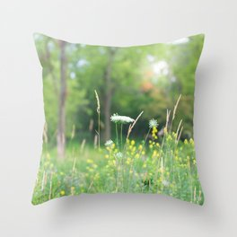 Wildflowers and the Woodland Throw Pillow