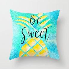 Be Sweet - Watercolor Pineapple - Boho Summer Throw Pillow