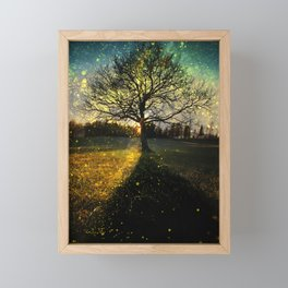 Magical fireflies dreamy landscape Framed Mini Art Print