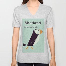 Shetland Puffin Vintage travel poster Unisex V-Neck