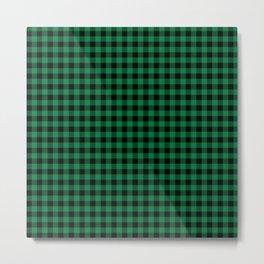 Winter green and black plaid christmas gifts minimal pattern plaids checked Metal Print