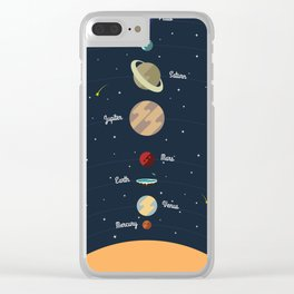 Flat Earth Solar System Clear iPhone Case