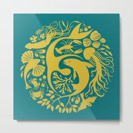 Life Encompassed in Teal Metal Print