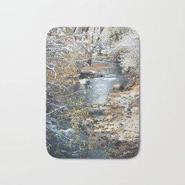 A Creek on a Snowy Day in Boulder, Colorado II Bath Mat