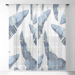 Banana Leaves 2 Blue Sheer Curtain