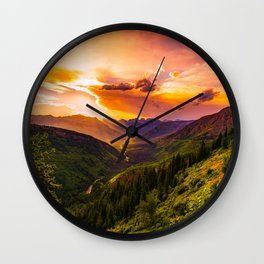 Beautiful Sunset Mountains Valley Landscape Wall Clock
