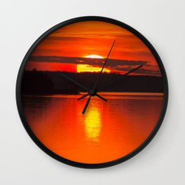 Autumn Sunset Orange Sky Lakescape #decor #society6 #buyart Wall Clock