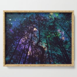 Black Trees Colorful Teal Space Serving Tray