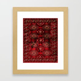 N129 - Epic Royal Red Oriental Traditional Moroccan Style Fabric Design  Framed Art Print