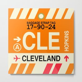 CLE Cleveland • Airport Code and Vintage Baggage Tag Design Metal Print