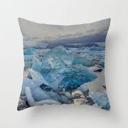 Blue Ice - Jökulsárlón Lagoon Throw Pillow