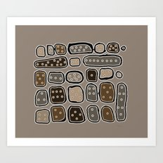 Rounded Boxes with Eyes Art Print