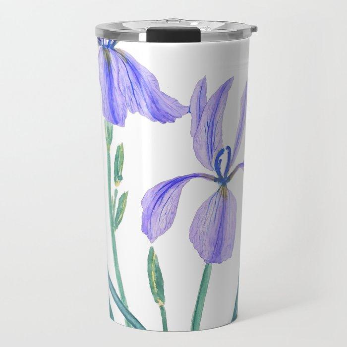 vintage purple iris watercolor Travel Mug