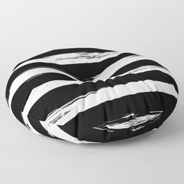 Paint Stripes Black and White Floor Pillow