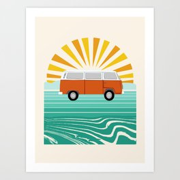 Peace, man - retro 70s hippie bus surfing socal california minimal 1970's style vibes Art Print