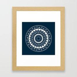 Ukatasana white mandala on blue Framed Art Print