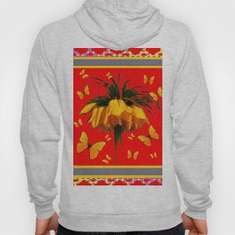 DECORATIVE RED YELLOW FRAMED BUTTERFLIES CROWN IMPERIAL Hoody