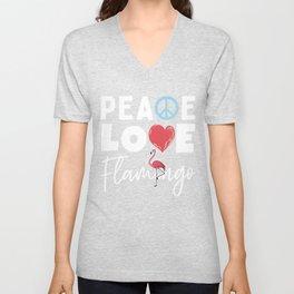 Peace Love Flamingo Unisex V-Neck