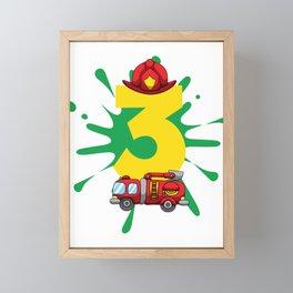 Fire Truck 3rd Birthday Firefighter 3 Yr Old Boy Framed Mini Art Print