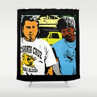 pulp fiction Shower Curtains featuring Pulp Fiction  |  Vince & Jules by Silvio Ledbetter