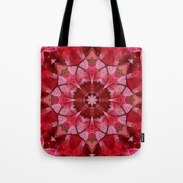 Red autumn leaves kaleidoscope - Cranberrybush Viburnum Tote Bag