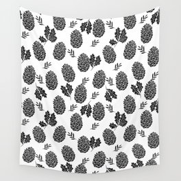 Linocut Pinecones fall autumn nature black and white minimalist botanical gifts Wall Tapestry