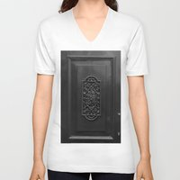 door V-neck T-shirts featuring door by habish