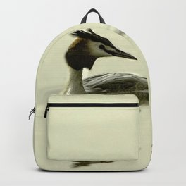 Lets go Fishing, grebe reflecting on water with text. Backpack