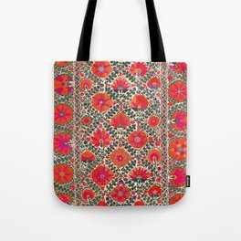 Kermina Suzani Uzbekistan Colorful Embroidery Print Tote Bag