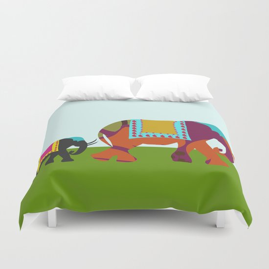 Elephants on the Streets of India Duvet Cover