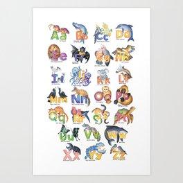 Australian Animal Alphabet, Nursery, Baby, Children, Kids Room, Wall Art Art Print