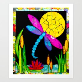 Find Your Way - paper pieced dragonfly Art Print