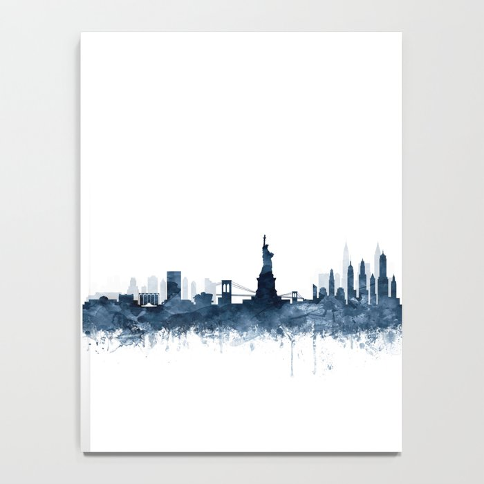 New York City Skyline  Blue Watercolor by zouzounioart Notebook