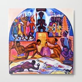 """African American Classical Masterpiece """"African American Slave History"""" by Hale Woodruff Metal Print"""