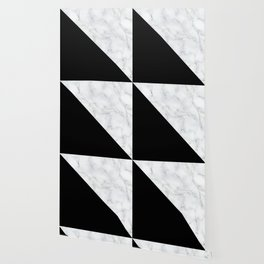 Marble Black and White Abstract Color Block Wallpaper