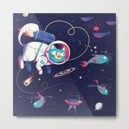 The Adventures of Space Cat Metal Print