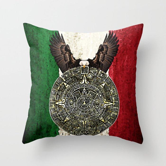 Mexican Eagle Aztec Calendar Flag Throw Pillow By Consuelocastaneda Society6