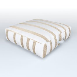 Simply Drawn Vertical Stripes in White Gold Sands Outdoor Floor Cushion