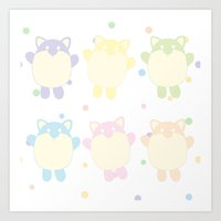 Chubby Kitties Art Print