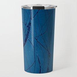 Navy Blue - Jackson Pollock Style Art - Abstract - Expressionism - Modern Travel Mug