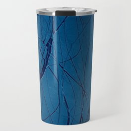 Navy Blue - Jackson Pollock Style Art - Abstract - Expressionism - Corbin Henry Travel Mug