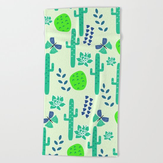 Cacti and butterflies Beach Towel