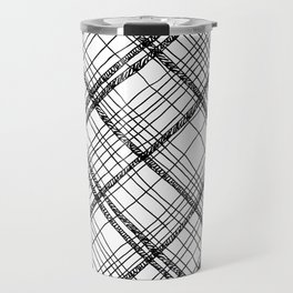 Scribble plaid: fun plaid pattern print Travel Mug